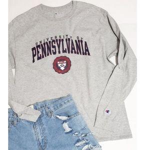 Champion Gray University of Pennsylvania tee shirt
